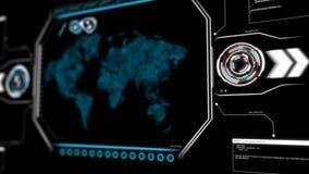 4K与装货百分比pi元素的动画地图在未来派技术概念的黑暗的抽象背景 库存例证