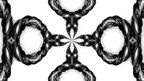 4k与黑白丝带的圈动画扭转并且形成复杂结构作为万花筒作用 10 库存例证