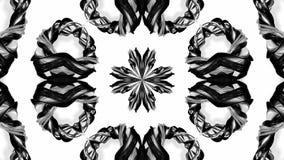 4k与黑白丝带的圈动画扭转并且形成复杂结构作为万花筒作用 3 向量例证