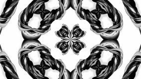 4k与黑白丝带的圈动画扭转并且形成复杂结构作为万花筒作用 6 向量例证