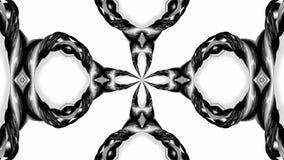 4k与黑白丝带的圈动画扭转并且形成复杂结构作为万花筒作用 42 皇族释放例证