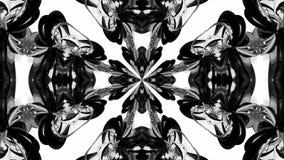 4k与黑白丝带的圈动画扭转并且形成复杂结构作为万花筒作用 36 库存例证