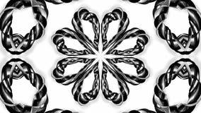 4k与黑白丝带的圈动画扭转并且形成复杂结构作为万花筒作用 48 库存例证