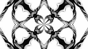 4k与黑白丝带的圈动画扭转并且形成复杂结构作为万花筒作用 63 库存例证