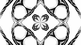 4k与黑白丝带的圈动画扭转并且形成复杂结构作为万花筒作用 71 股票录像
