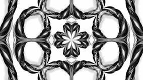 4k与黑白丝带的圈动画扭转并且形成复杂结构作为万花筒作用 21 库存例证