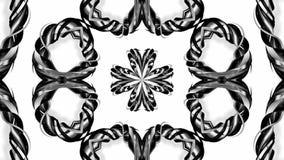 4k与黑白丝带的圈动画扭转并且形成复杂结构作为万花筒作用 45 库存例证