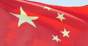4k中国旗子在风振翼 股票视频