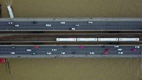 4K交通鸟瞰图和运输系统在曼谷 股票视频