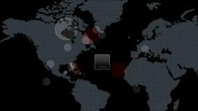 4k全球性GPS数据查出地球地图军事雷达GPS航海接口 库存例证
