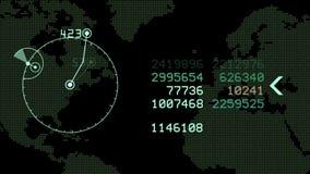 4k全球性GPS数据查出地球地图军事雷达GPS航海接口 皇族释放例证