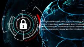 4K动画与安全锁隐喻网络未来派数据保险柜概念的地球旋转 向量例证