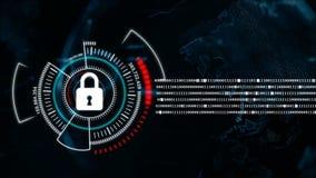 4K动画与安全锁隐喻网络未来派数据保险柜概念的地球旋转 皇族释放例证
