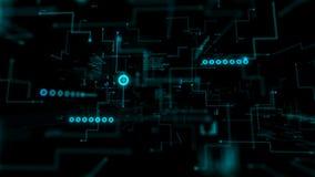 4K动画3D抽象黑暗的背景移动的图表酒吧infographic小点和线隐喻网络未来派数据传送网络 皇族释放例证