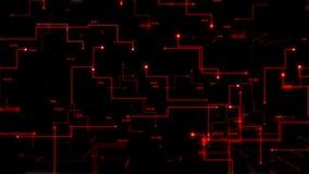 4K动画3D抽象黑暗的背景移动的小点和线隐喻网络未来派数据传送网络连接概念 库存例证