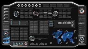 4K动画UI与世界地图数据HUD pi酒吧正文框桌的在黑暗的抽象背景的用户界面和元素futuristi的 向量例证