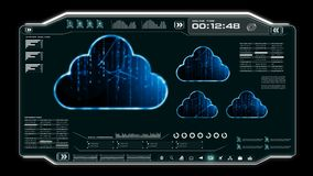 4K动画UI与云彩计算机数据HUD pi酒吧正文框桌的在黑暗的抽象背景的用户界面和元素futu的 皇族释放例证