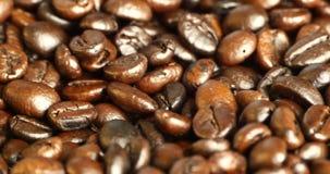 4k咖啡豆特写镜头,饮料咖啡因食物原材料,可口盘豆 股票录像