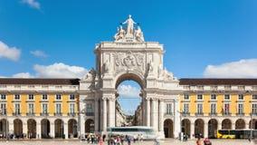 4k商务正方形- Parça timelaspe在里斯本-葡萄牙- UHD做commercio 影视素材