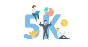 5K喜欢,追随者网上社会媒介横幅 与主题词、信件和象的概念 平的传染媒介例证 库存例证