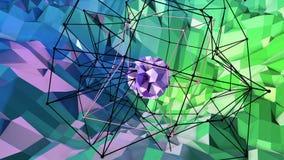 4k在圈的低多背景动画 无缝的3d动画作为创造性的简单的低多背景 V12蓝绿色 皇族释放例证