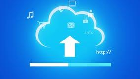 4k在膝上型计算机的云彩计算的连接概念,真正互联网象 向量例证