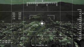 4k在镇UAV或攻击用直升机概念的空中武器锁 股票视频