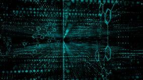 4K小点微粒流程转弯和移动futursitic和tectnology抽象背景的 库存例证