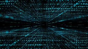 4K小点微粒流程转弯和移动futursitic和tectnology抽象背景的 向量例证