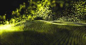4K抽象数字波浪blackground 发光的微粒流动行动 未来派在网络空间的技术高科技滤网 股票录像