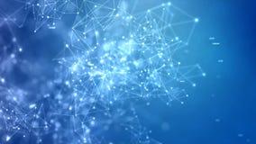 4K提取背景与连接的小点圈子的未来派网络网络连接被处理的概念以黑暗和五谷 库存例证