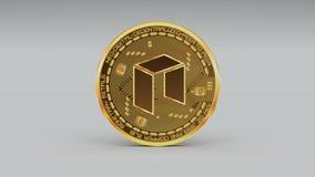 4k新硬币隐藏货币商标3D转动财务金钱事务 向量例证