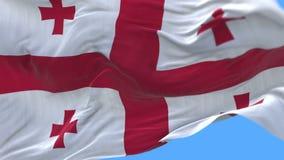 4k无缝的关闭乔治亚旗子缓慢挥动在风 包括的阿尔法通道 库存例证