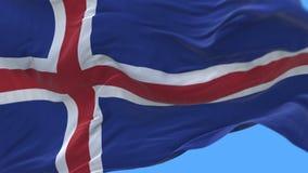 4k无缝的关闭冰岛旗子缓慢挥动在风 包括的阿尔法通道 皇族释放例证