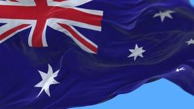 4k无缝的关闭澳大利亚旗子缓慢挥动在风 阿尔法通道 库存例证