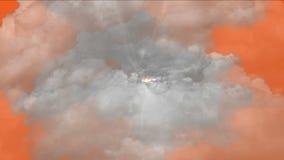 4k暴风云薄雾气体烟,雷闪电阴霾天空,大气背景 库存例证