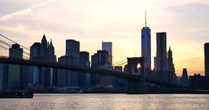 4K曼哈顿地平线图在日落-纽约美国的 股票视频