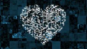 4k有移动的电子的一张未来派电路板塑造了心脏,电子连接,通信,未来派技术 影视素材