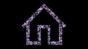 4k有移动的电子的一张未来派电路板塑造了房子标志 股票录像