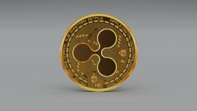 4k波纹硬币XRP隐藏货币商标3D转动财务金钱事务 库存例证
