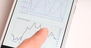 4k浏览在智能手机的商人财务新闻,手指感人的财务圆图 股票视频