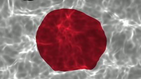 4K现实波浪日本旗子高定义录影与无缝的圈的 股票视频