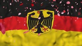 4k现实3D详述了慢动作德国旗子,飞行的伊朗旗子生气蓬勃的背景, 向量例证
