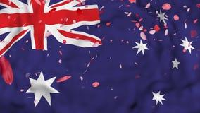 4k现实3D详述了慢动作澳大利亚旗子,飞行的伊朗旗子生气蓬勃的背景, 库存例证