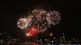 4K真正的烟花节日英尺长度在天空的庆祝的在晚上有在背景的城市视图 股票视频
