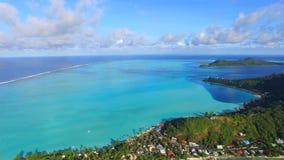 4k空中博拉博拉岛海岛法属玻里尼西亚全景视图惊人的日落海景在绿松石太平洋水中 影视素材