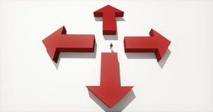 4k站立在四箭头的中心的商人,选择方向 皇族释放例证