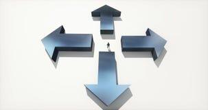4k站立在四箭头的中心的商人,选择方向 向量例证