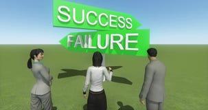 4k站立在成功&失败路标前面的商人  皇族释放例证
