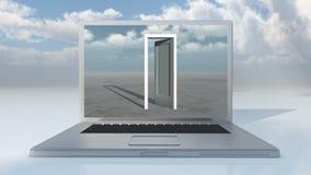 4k膝上型计算机门户开放主义& timelapse飞行戏剧录影在宽平原覆盖 股票录像